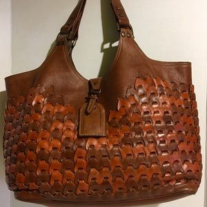 Mulberry leather woven brown handbag